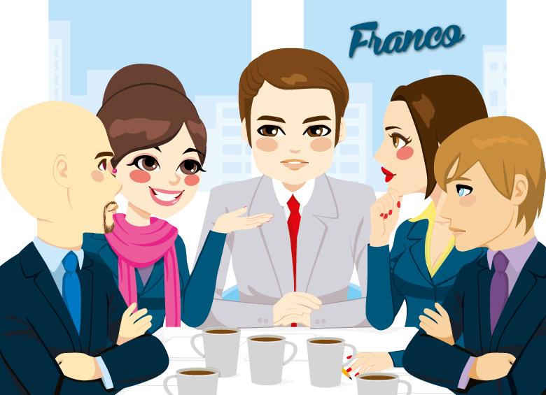 disegno di franco, uomo lavoratore ad una riunione