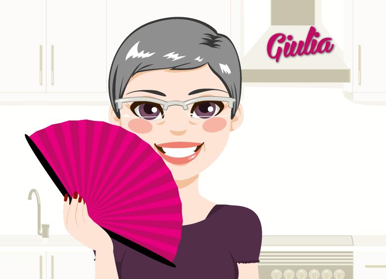 disegno di giulia, donna in menopausa sorridente con ventaglio